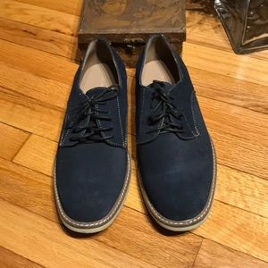 Men's Lace Up Casual Suede Navy Work Low top 10